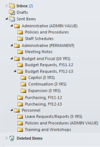 Screenshot of a well-organized Outlook Sent Items folder